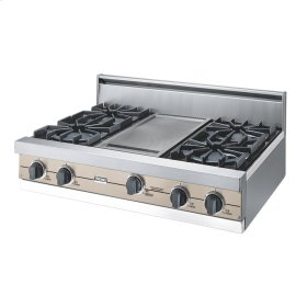 "Taupe 36"" Open Burner Rangetop - VGRT (36"" wide, four burners 12"" wide griddle/simmer plate)"
