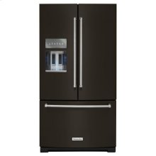 KitchenAid® 26.8 cu. ft. 36-Inch Width Standard Depth French Door Refrigerator with Exterior Ice and Water Platinum Interior - Black Stainless