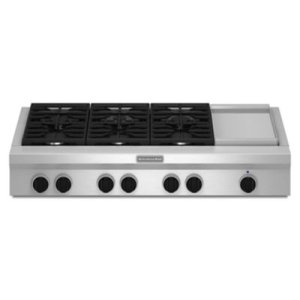 KITCHENAID48-Inch 6 Burner with Griddle, Gas Rangetop, Commercial-Style - Stainless Steel