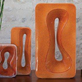 Rectangular Amoeba Vase-Orange-Sm