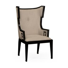 Greek Key Design Biedermeier Black Armchair