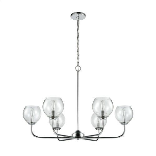 Emory 6-Light Chandelier in Polished Chrome with Clear Blown Glass