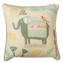 Embroidered Elephant Pillow.