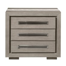 Marble Inlay Nightstand - Gray