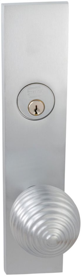Exterior Modern Mortise Entrance Knob Lockset with Plates in (US26D Satin Chrome Plated)