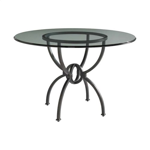 "Custom Dining 60"" Glass Table w/Round Base"