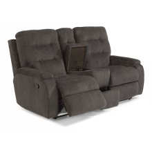 Kerrie Fabric Reclining Loveseat with Console
