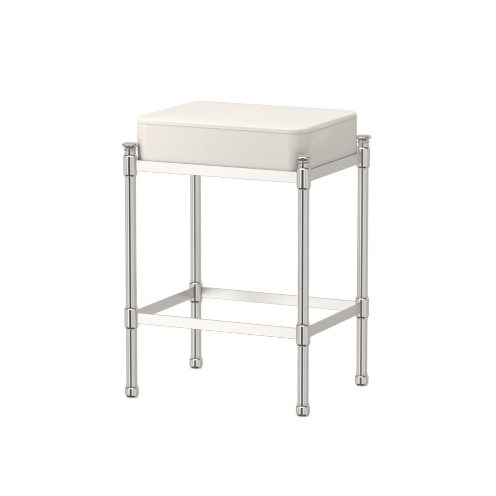 Rectangle Vanity Stool in Satin Nickel