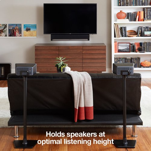 Black- Place your compact speaker right where you need it. Robust, heavy-duty design.