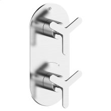 Percy 2-Handle Thermostatic Shower Valve Trim with Tri-Spoke Handles - Polished Chrome