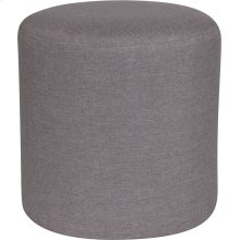Barrington Upholstered Round Ottoman Pouf in Light Gray Fabric