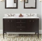 "Charlottesville w/Nickel 60"" Vanity Double Bowl - Door - Vintage Black Product Image"