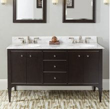 "Charlottesville w/Nickel 60"" Vanity Double Bowl - Door - Vintage Black"