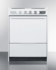 """Slide-in Electric Range In Slim 24"""" Width With White Porcelain Construction"""
