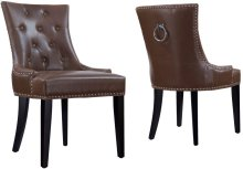 Uptown Antique Brown Leather Dining Chair (Set of 2)