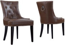 Uptown Antique Brown Leather Dining Chair (Set of 2) Product Image