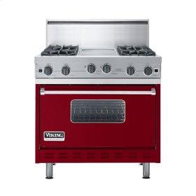 """Apple Red 36"""" Open Burner Commercial Depth Range - VGRC (36"""" wide, four burners 12"""" wide griddle/simmer plate)"""