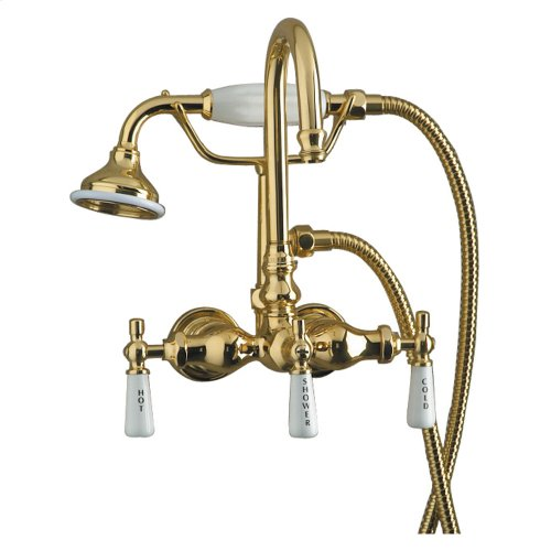 Clawfoot Tub Filler - Diverter Faucet with Code Gooseneck Spout - Polished Brass