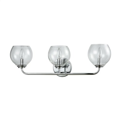 Emory 3-Light Vanity Lamp in Polished Chrome with Clear Blown Glass
