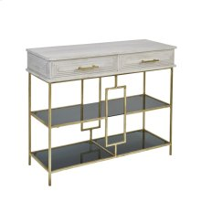Wood / Iron 2 Drawer Console W/ Glass Shelves, White Wash
