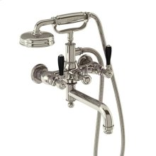 Arcade Exposed Wall-mount Tub Faucet with Handshower and Black Lever Handles - Polished Chrome