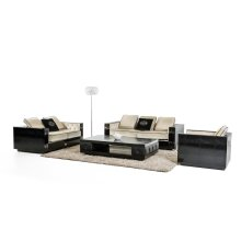 A&X Bellagio Transitional Black Crocodile and Beige Fabric Sofa Set