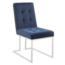 Modern Ink Blue and Chrome Dining Chair