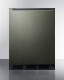 ADA Compliant Built-in Undercounter Refrigerator-freezer for Residential Use, Cycle Defrost W/deluxe Interior, Black Stainless Steel Door, Horizontal Handle, and Black Cabinet