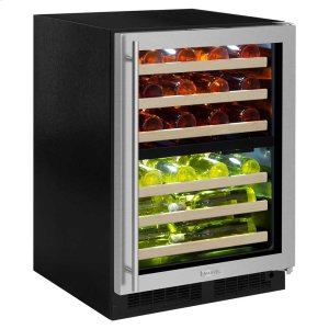 Marvel24-In Built-In High Efficiency Dual Zone Wine Refrigerator with Door Style - Stainless Steel Frame Glass, Door Swing - Right