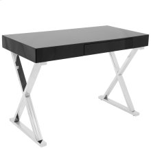 Luster Desk - Chrome, Black Mdf