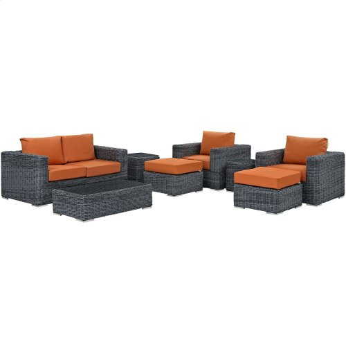 Summon 8 Piece Outdoor Patio Sunbrella® Sectional Set in Canvas Tuscan