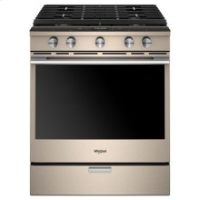 Whirlpool® 5.8 Cu. Ft. Smart Contemporary Handle Slide-in Gas Range with EZ-2-Lift Hinged Cast-iron Grates - Sunset Bronze