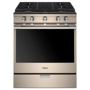 Whirlpool(R) 5.8 Cu. Ft. Smart Contemporary Handle Slide-in Gas Range with EZ-2-Lift(TM) Hinged Cast-iron Grates - Sunset Bronze - SUNSET BRONZE