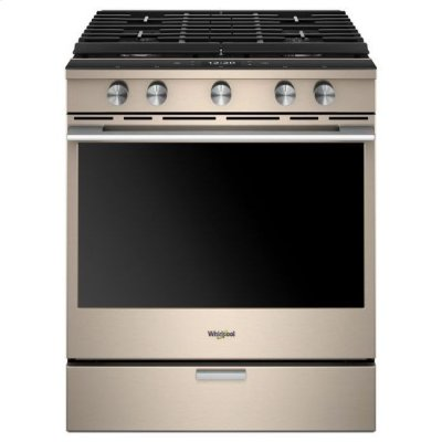 Whirlpool® 5.8 Cu. Ft. Smart Contemporary Handle Slide-in Gas Range with EZ-2-Lift™ Hinged Cast-iron Grates - Sunset Bronze Product Image