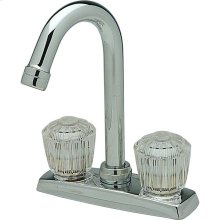 """Elkay 4"""" Centerset Deck Mount Faucet with Gooseneck Spout and Clear Crystalac Handles Chrome"""