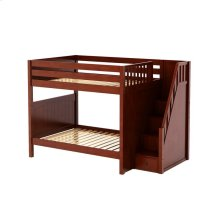 High Bunk Bed with Staircase on End : Full : Chestnut : Panel