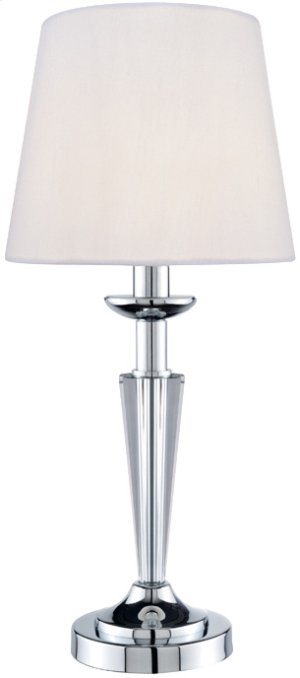 Table Lamp, Chrome/crystal Body/white Fabric Shd, E12 B 60w