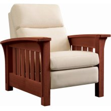 Recliner Bustle Back Upholstery, Oak Bow Arm Morris Recliner