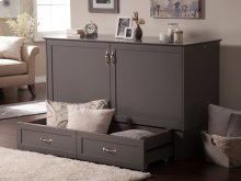 Madison Murphy Bed Chest Queen Atlantic Grey with Charging Station