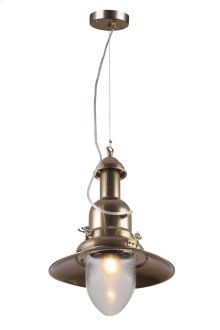 "Industrial Collection Chandelier D:11.75"" H:18"" Lt:1 Antique Brass Finish"