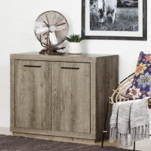 Small 2-Door Storage Cabinet - Weathered Oak