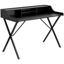 Black Computer Desk with Top Shelf