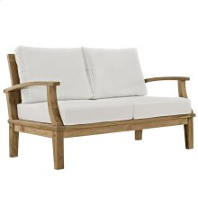 Marina Outdoor Patio Premium Grade A Teak Wood Loveseat in Natural White