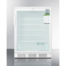 "ADA Compliant 24"" Wide Glass Door Refrigerator for Built-in Use, Auto Defrost With A Lock, Traceable Thermometer, and Internal Fan"