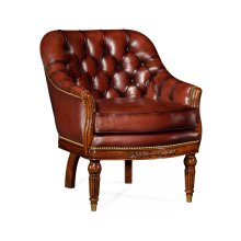 Mahogany Club Chair, Upholstered in Parliament Red Leather