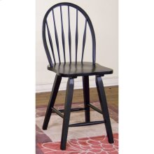 Black Bowback Stool/wooden Seat