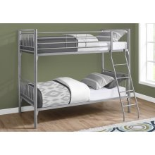 BUNK BED - TWIN / TWIN SIZE / DETACHABLE SILVER METAL