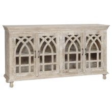 BENGAL MANOR LIGHT MANGO WOOD CATHEDRAL DESIGN 4 DOOR SIDEBOARD