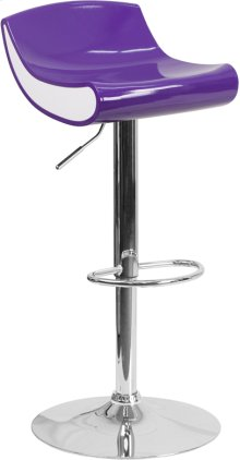Contemporary Purple and White Adjustable Height Plastic Barstool with Chrome Base