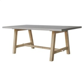 """Boston 79"""" Rect. Dining Table """"A"""" Base with Concrete Top, Brushed Smoke"""